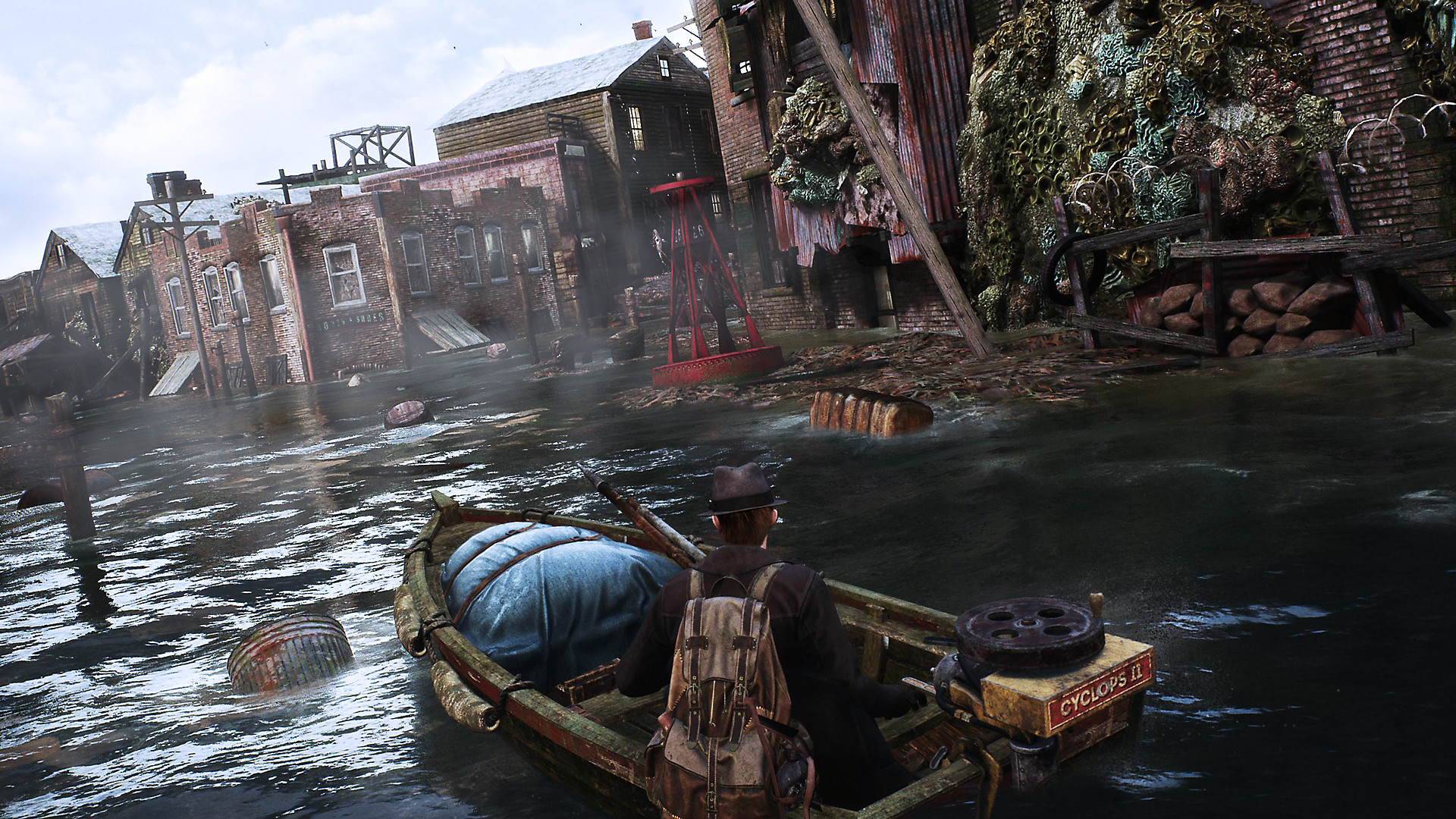 The Sinking City: captura de pantalla con un bote