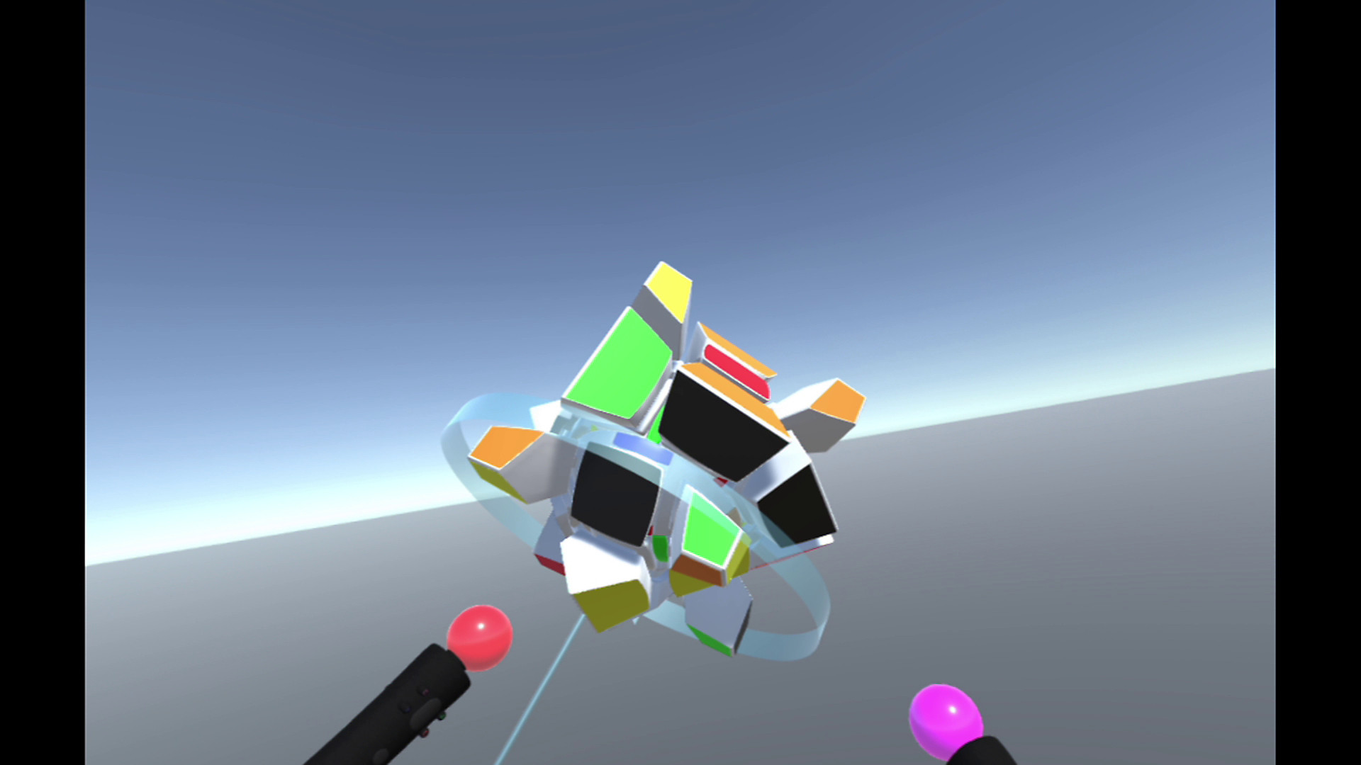 PS Move controllers morphing a colorful block