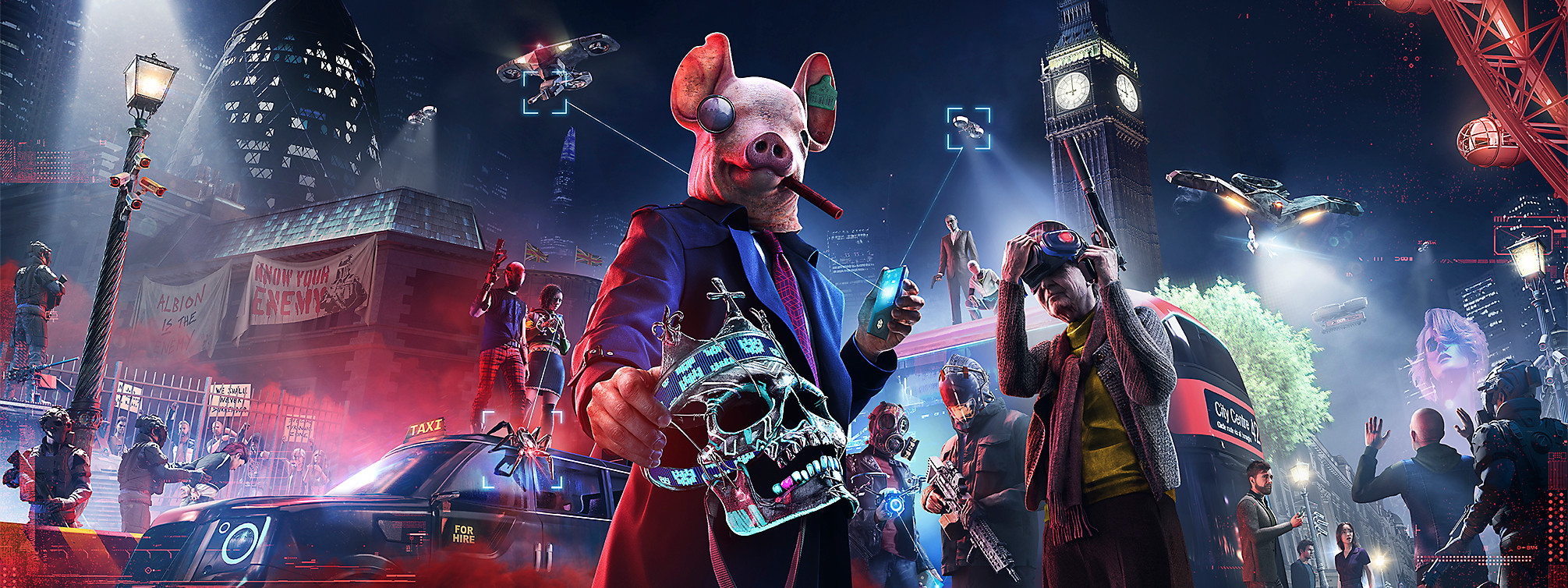 Estandarte con héroe de Watch Dogs: Legion