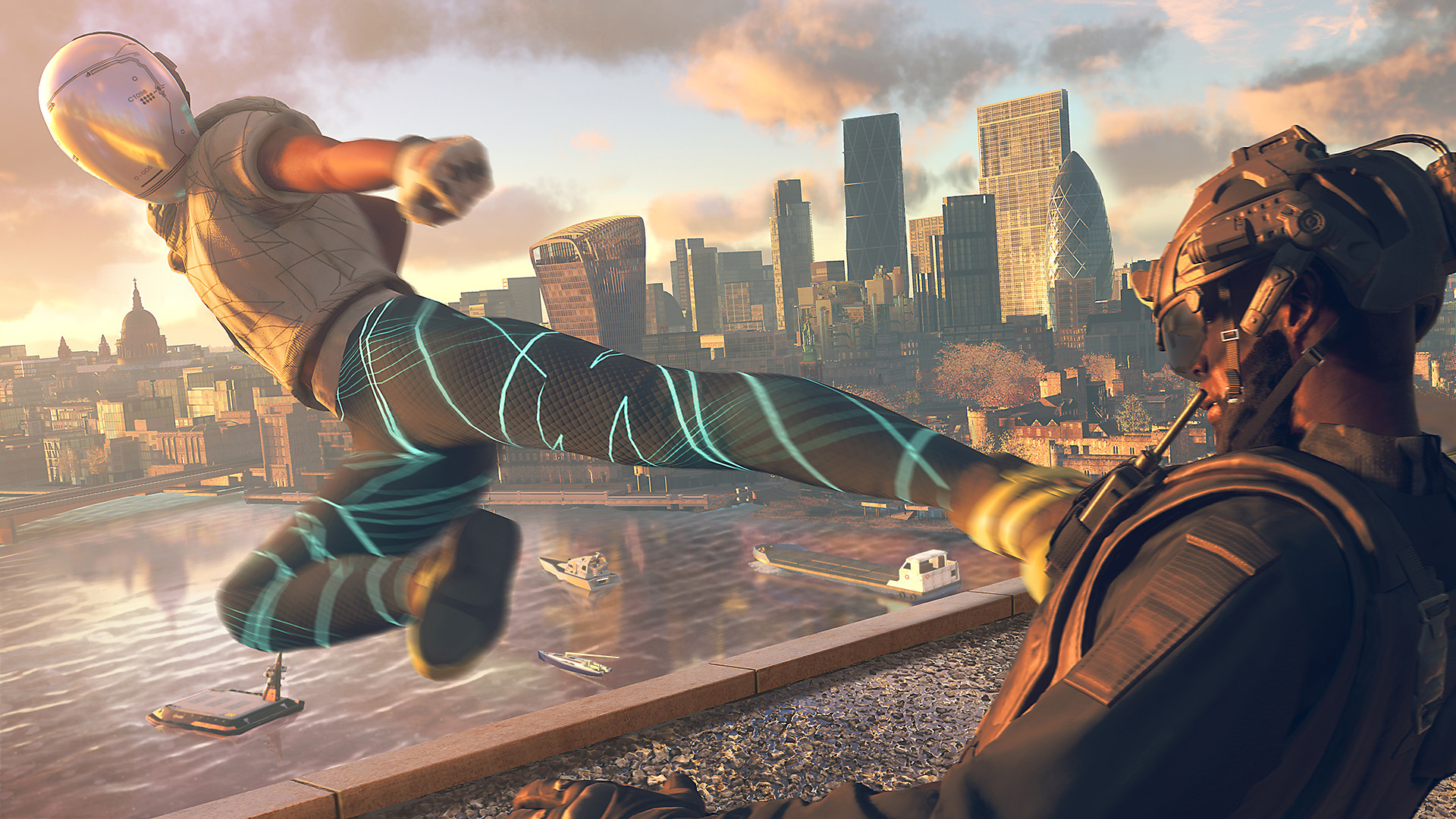 Watch Dogs Legion screenshot - Character delivering a high kick
