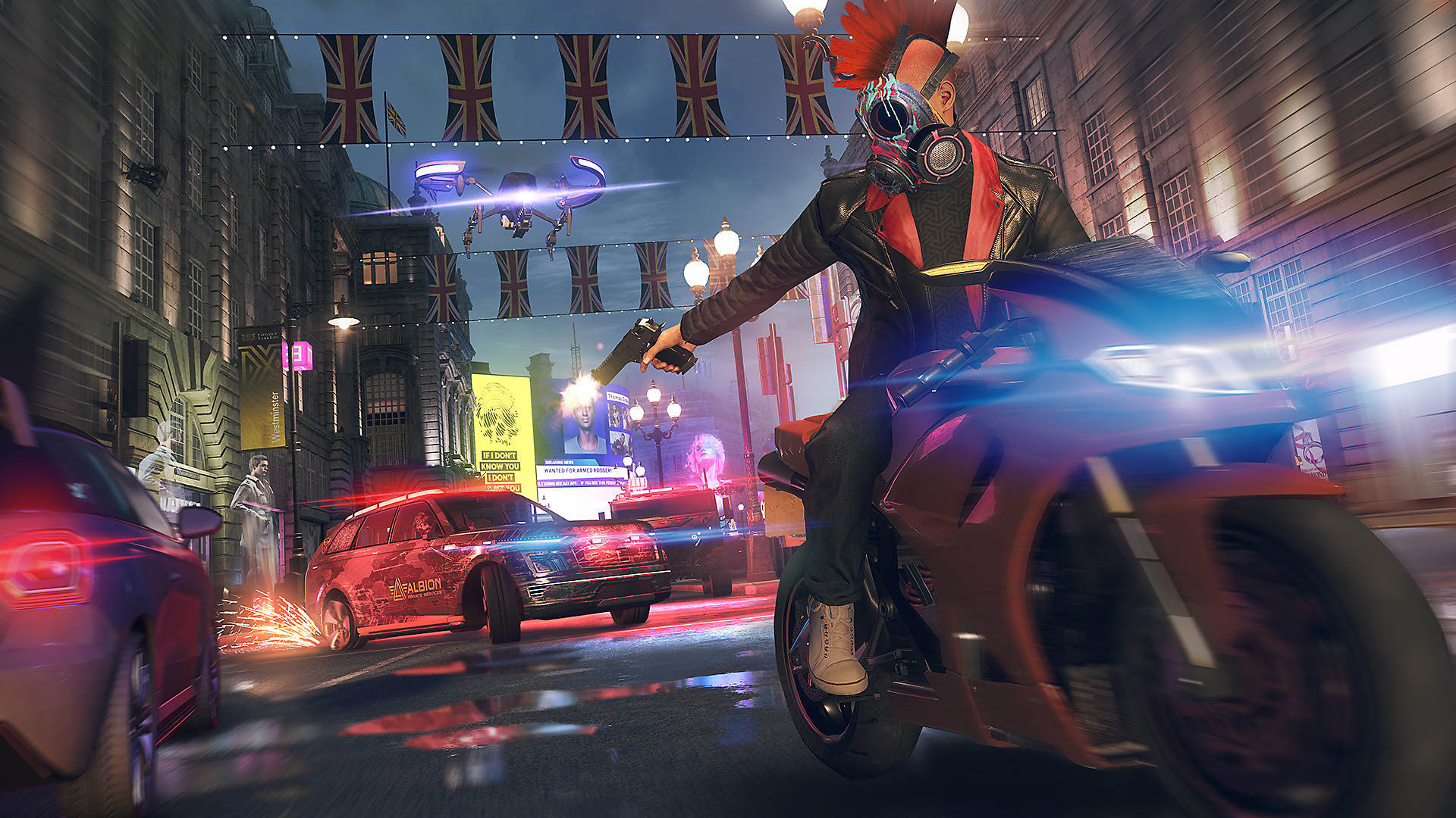 Watch Dogs Legion screenshot - Character on a motorcycle shooting an enemy car's tire