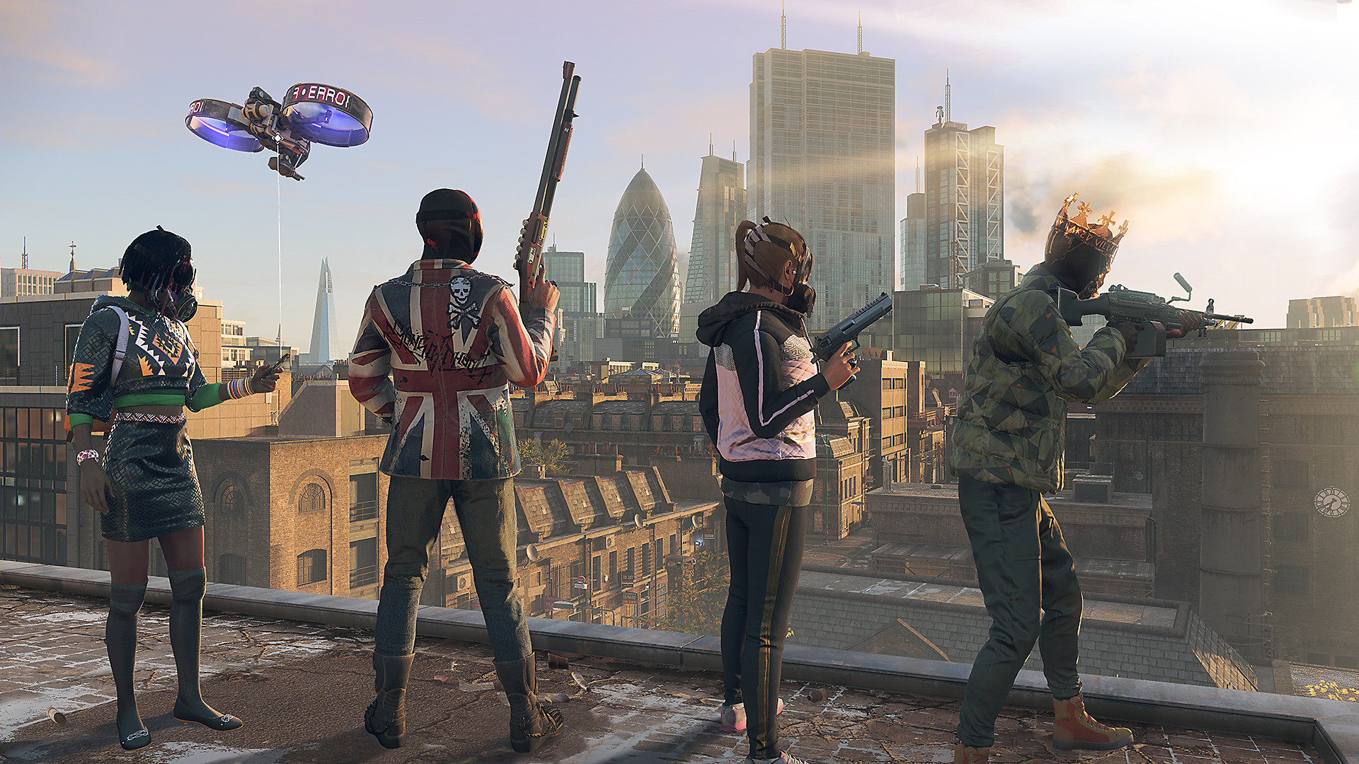 Watch Dogs Legion screenshot - Characters on a rooftop overlooking the city, weapons in hand