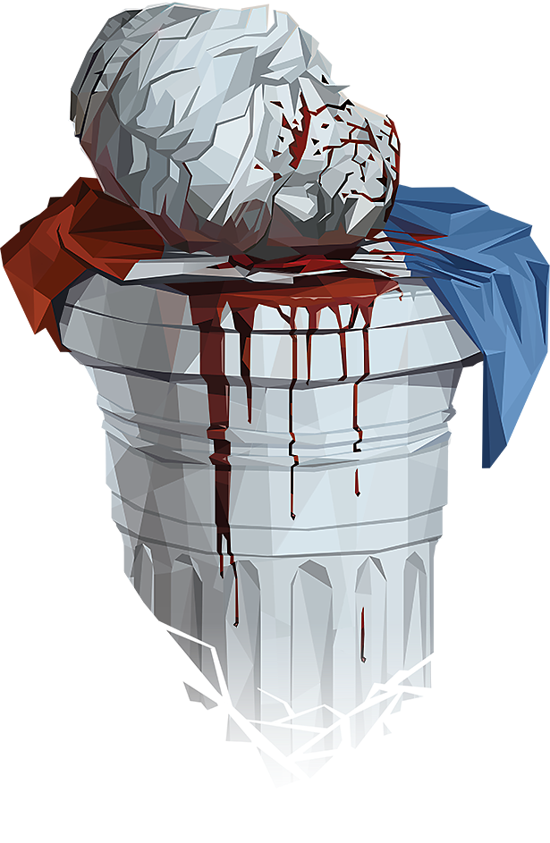 Head of a statue of Justice, lying atop a French flag and a column. All are covered in blood.