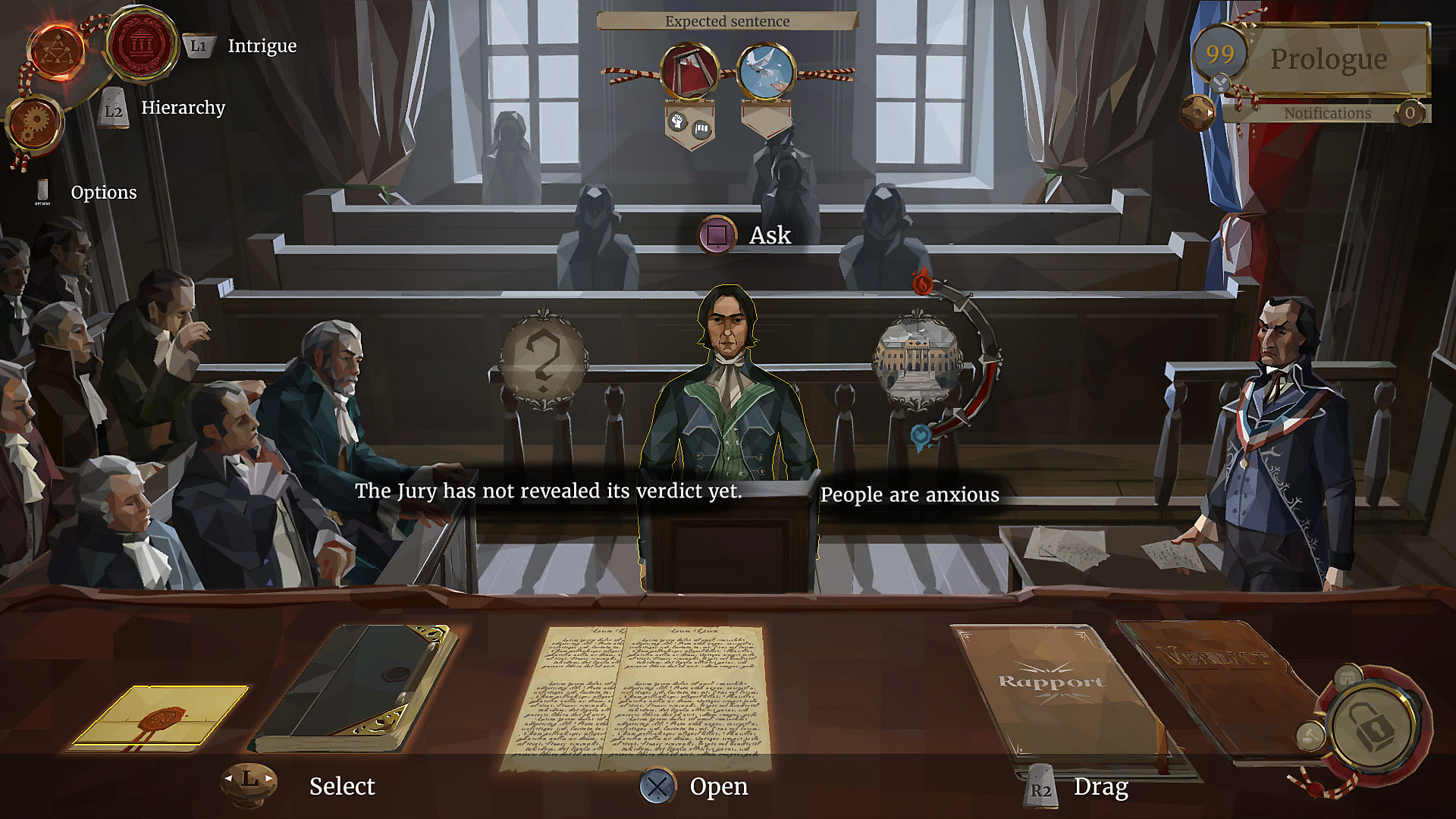 Trial scene, with many options to choose from, including dialogue choices