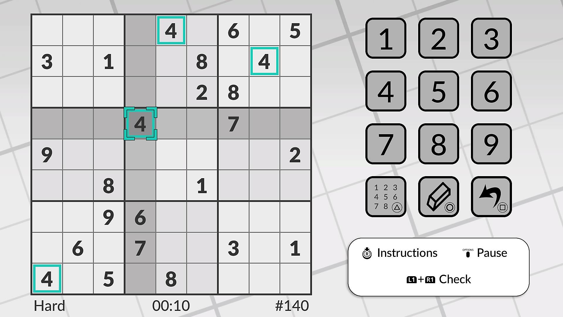 Sudoku puzzle with numbers