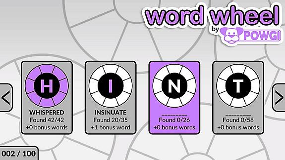 Word Wheel by POWGI - Screenshot INDEX